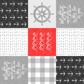 Nautical Patchwork (red and black) - Mightier than the waves - Wave wholecloth - nautical nursery fabric (90) LAD19