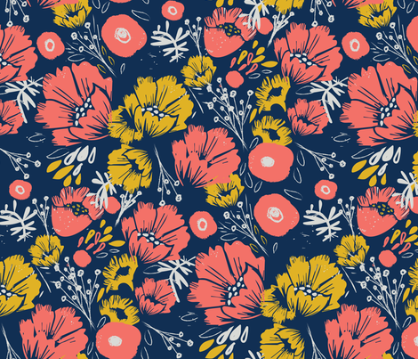 Coral Happiness on Navy fabric by pixabo on Spoonflower - custom fabric