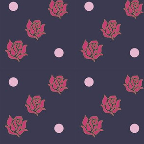 Ballerina Roses and Polka Dots on Eclipse Background