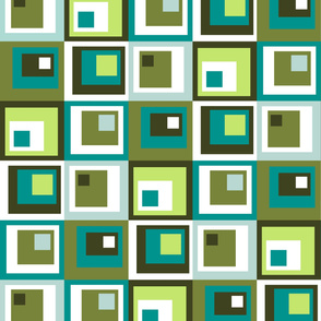 19-02H Modern Abstract Whole Cloth Cheater Quilt Brown Green Blue _ Miss Chiff Designs