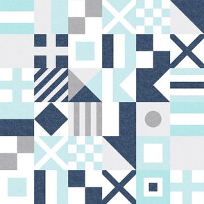 """(3"""" small scale) Nautical Flags Patchwork - Wholecloth - Baby Blue and Navy - Maritime flags - LAD19"""