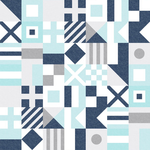 Nautical Flags Patchwork - Wholecloth - Baby Blue and Navy - Maritime flags - LAD19