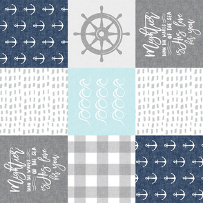 Nautical Patchwork (baby blue and navy) - Mightier than the waves - Wave wholecloth - nautical nursery fabric (90) LAD19