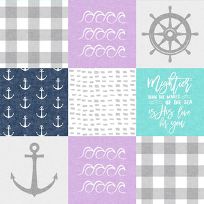 Nautical Patchwork (purple, teal, navy) - Mightier than the waves - Wave wholecloth - nautical nursery fabric  LAD19