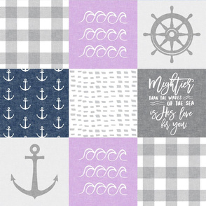 Nautical Patchwork (purple & navy) - Mightier than the waves - Wave wholecloth - nautical nursery fabric LAD19