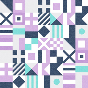 Nautical Flags Patchwork - Wholecloth - Purple, Teal, Navy - Maritime flags - LAD19