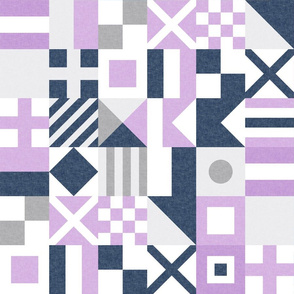 """(3"""" small scale) Nautical Flags Patchwork - Wholecloth - Purple &  Navy - Maritime flags - LAD19"""