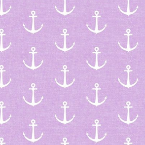 anchors on purple - nautical - LAD19