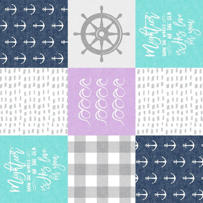 Nautical Patchwork (purple, teal, navy) - Mightier than the waves - Wave wholecloth - nautical nursery fabric (90) LAD19