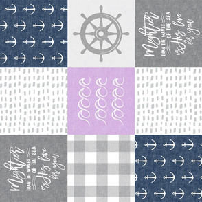 Nautical Patchwork (purple & navy) - Mightier than the waves - Wave wholecloth - nautical nursery fabric (90) LAD19