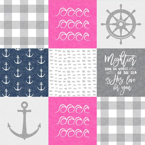 Nautical Patchwork (pink & navy) - Mightier than the waves - Wave wholecloth - nautical nursery fabric  LAD19