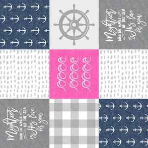 Nautical Patchwork (pink & navy) - Mightier than the waves - Wave wholecloth - nautical nursery fabric (90) LAD19