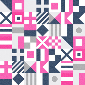 Nautical Flags Patchwork - Wholecloth - Pink & Navy - Maritime flags - LAD19