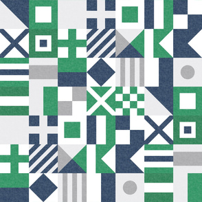 Nautical Flags Patchwork - Wholecloth - Green & Navy - Maritime flags - LAD19