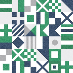 "(3"" small scale) Nautical Flags Patchwork - Wholecloth - Green & Navy - Maritime flags - LAD19"