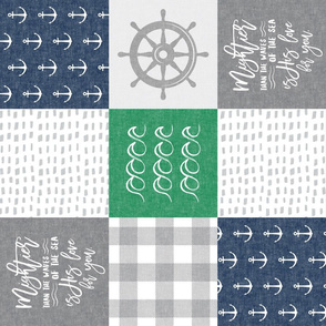 Nautical Patchwork (green & navy) - Mightier than the waves - Wave wholecloth - nautical nursery fabric (90) LAD19