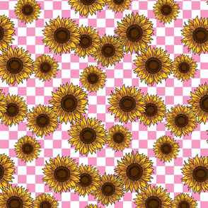 90s sunflowers fabric - checkerboard fabric, sunflower fabric, 90s fabric - light pink