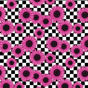 90s sunflowers fabric - checkerboard fabric, sunflower fabric, 90s fabric - pink