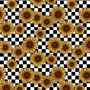 90s sunflowers fabric - checkerboard fabric, sunflower fabric, 90s fabric - classic