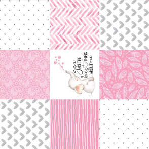 Elephant//You are the best thing about me//Pink - Wholecloth Cheater Quilt
