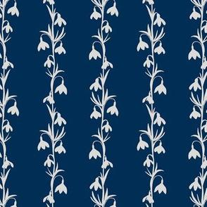 Delicate  Snowdrop Floral Silhouettes Stripe