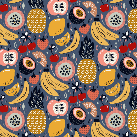 Winter Funky Fruit (Small version)  fabric by tigatiga on Spoonflower - custom fabric