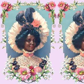 4 young black woman lady african descent POC people of color WOC pink victorian bonnets beautiful lady 19th century flowers floral roses feathers bow frame leaves leaf red pink white purple border daisy daisies bows chokers star coral peach lace blue grey