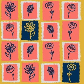 Coral Floral Stamps