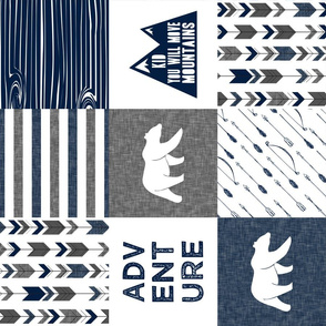 Bear Patchwork fabric - happy camper - navy and grey with navy wood grain(90)