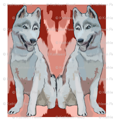 two huskies quilt block