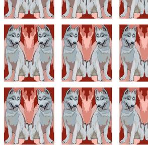 two huskies quilt block