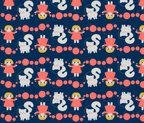 Coral girl with a cat fabric by minnacinnamon on Spoonflower - custom fabric