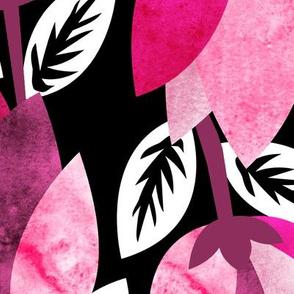 Textured Pink Bold Floral Black Background