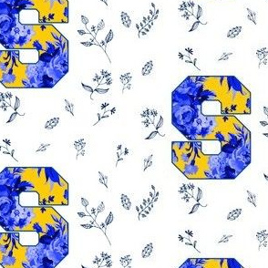 Letter S White Blue and Yellow