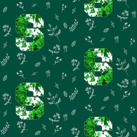 """4"""" Letter S White and Green fabric by shopcabin on Spoonflower - custom fabric"""