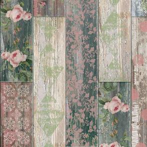 Vintage Wood Tiles Pink Green Random