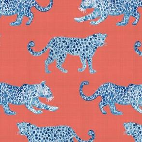 Leopard Parade  Blue on orange