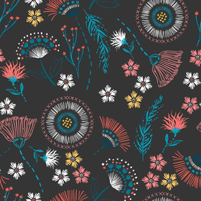 Maisy Floral Charcoal