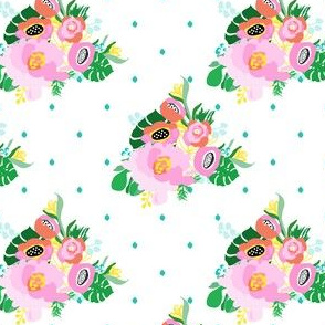"""4"""" Calypso Flowers Aqua Dots"""