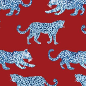 Leopard Parade Blue on red