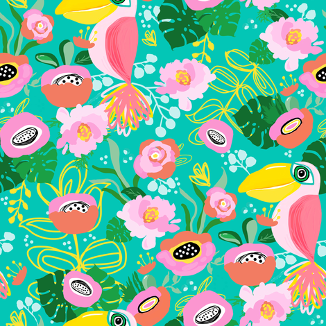 """8"""" Calypso Toucan with Florals Aqua fabric by shopcabin on Spoonflower - custom fabric"""