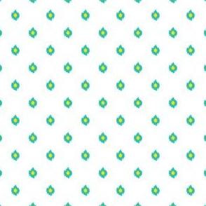 """4"""" White Aqua and Yellow Print"""