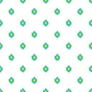 """8"""" White Aqua and Yellow Print"""