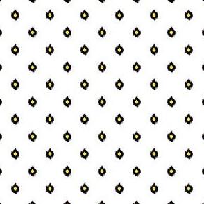 "4"" White Black and Yellow Print"