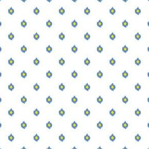 """4"""" White Blue and Yellow Print"""