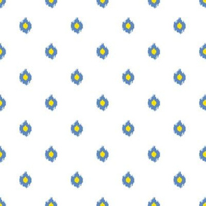 """8"""" White Blue and Yellow Print"""