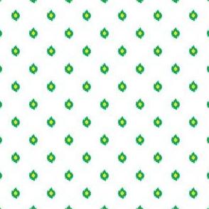"4"" White Green and Yellow Print"