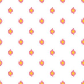 "8"" White Bright Pink and Yellow Print"