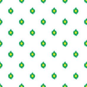 "8"" White Green and Yellow Print"