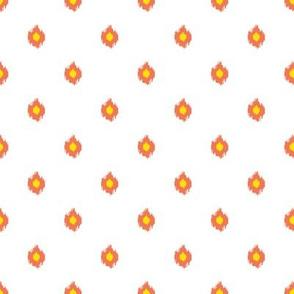 """8"""" White Orange and Yellow Print"""